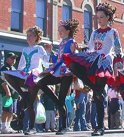 Irish step dancers in a St. Patrick's Day Parade in Fort Collins, Colorado