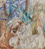 The glass; by Mikhail Larionov; 1912; oil on canvas; 104 × 97 cm (40.9 × 38.1 in.); Solomon R. Guggenheim Museum (New York City)