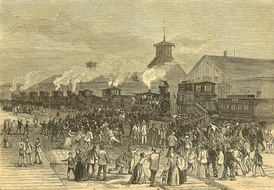 Blockade of engines at Martinsburg, West Virginia, during strike in 1877