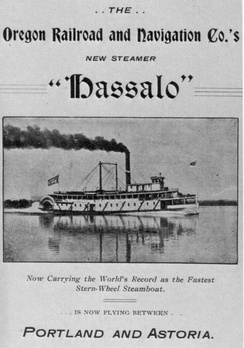 1899 advertisement for the steamboat Hassalo.