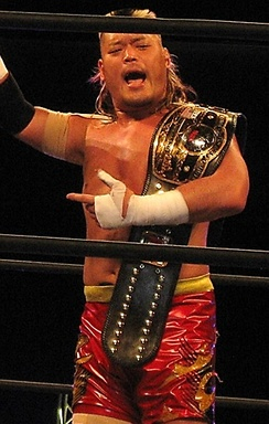 Tenzan as the NWA World Champion in March 2015.