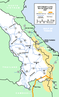 The Ho Chi Minh trail, known as the Truong Son Road by the North Vietnamese, cuts through Laos. This would develop into a complex logistical system which would allow the North Vietnamese to maintain the war effort despite the largest aerial bombardment campaign in history