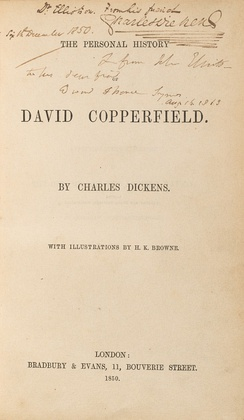 Title page of the first edition by Bradbury & Evans, signed by Dickens