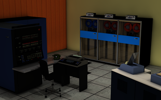 3D Rendering of computer center with IBM System/370-145 and IBM 2401 tape drives