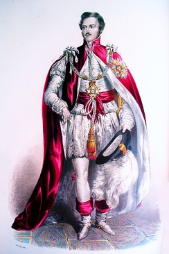 Prince Albert, the Prince Consort, Great Master 1843–1861. During the nineteenth century, Knights Grand Cross wore their mantles over imitations of seventeenth-century dress. They now wear them over contemporary attire.