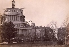 President Abraham Lincoln insisted that construction on the United States Capitol dome continue during the American Civil War; 1861.