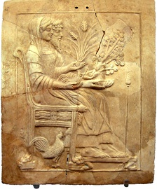Pinax of Persephone and Hades on the throne, from the holy shrine of Persephone at Locri.