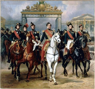 Louis Philippe and his sons pose before the gates of Versailles, by Horace Vernet History Gallery, (1846)