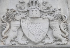 The coat of arms of King Ludwig over the entrance to Schloss Neuschwanstein