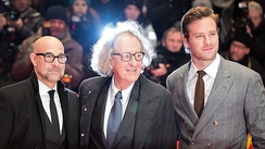 Stanley Tucci, Rush, and Armie Hammer at the premiere of Final Portrait at the 2017 Berlin International Film Festival