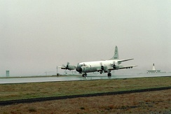 A U.S. Navy P-3C Orion of Patrol Squadron 56 (VP-56) at Keflavik, 1977.