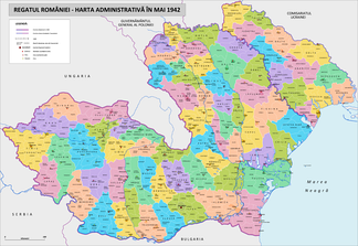 The counties and lower level administrative divisions of Romania, Transnistria included.