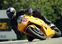 A motorcycle racer at Mosport