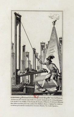 Cartoon showing Robespierre guillotining the executioner after having guillotined everyone else in France.