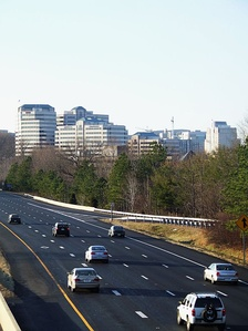 Reston, an internationally known planned community,[50] seen from the Dulles Toll Road
