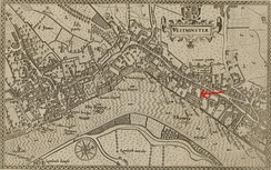 The arrow added to this 1593 map of Westminster indicates the Savoy.