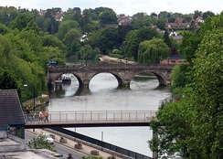 The Welsh Bridge (background) and Frankwell Footbridge (foreground) in Shrewsbury, Shropshire.