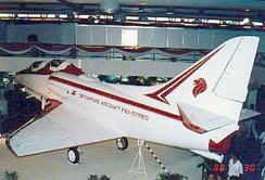 A full scale TA-4SU mock-up on display at the stand of Singapore Aircraft Industries (SAI) at the 1988 Asian Aerospace exhibition