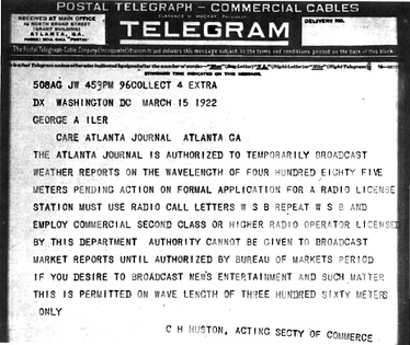 "March 15, 1922 telegram authorizing WSB to immediately begin ""news, entertainment and such matter"" broadcasts on 360 meters (833 kHz) and weather reports on 485 meters (619 kHz)[3]"