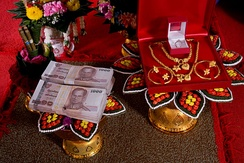 A traditional, formal presentation of the bride price at a Thai engagement ceremony