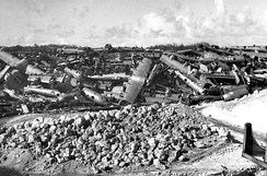 B-29 Superfortress graveyard, North Field, Tinian, 1946. During the war, bulldozers were always waiting at the ends of the runways. Any problem with takeoff or landing and the B-29's were bulldozed off the runway to keep the flow moving. After the war, many war-weary B-29s were scrapped on Tinian, the aircrews being sent home on other aircraft or ships.
