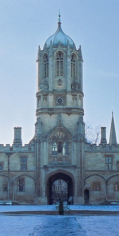 Tom Tower, Oxford, by Sir Christopher Wren 1681–82, to match the Tudor surroundings