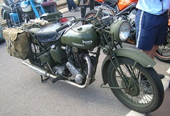 Triumph 3HW 350cc motorcycle specified in the novel as Kip's choice of transport and used in the film