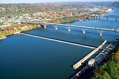 The Highland Park Bridge crosses the Allegheny River at Aspinwall, Pennsylvania, just above Allegheny River Lock and Dam No. 2.