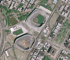 View of both old and new Yankee Stadium