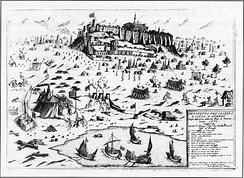 Depiction of the Venetian siege of the Acropolis of Athens during 1687.