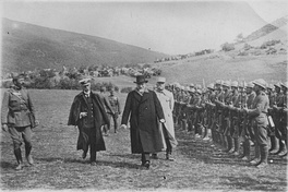 Venizelos reviewing a section of the Greek army on the Macedonian front during the First World War, 1917. He is accompanied by Admiral Pavlos Kountouriotis (left) and General Maurice Sarrail (right).
