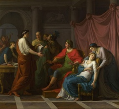 Virgil Reading the Aeneid to Augustus and Octavia,[48] by Jean-Joseph Taillasson, 1787, an early neoclassical painting (National Gallery, London)