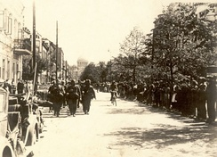 Wehrmacht soldiers marching through the Liberty Avenue in Kaunas