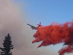 Neptune Aviation Services' P-2V Neptune drops Phos-Chek on the 2007 WSA Complex fire in Oregon.
