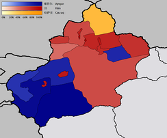Map showing the distribution of ethnicities in Xinjiang according to census figures from 2000, the prefectures with Uyghur majorities are in blue.