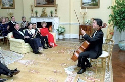 Ma performs at the White House for (left to right, seated) President Ronald Reagan, Crown Princess Michiko and Crown Prince Akihito of Japan, and Nancy Reagan, October 1987