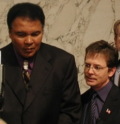 Ali and Michael J. Fox testify before a Senate committee on providing government funding to combat Parkinson's