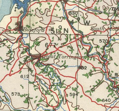 A historical 20th century map, from the British War Office, showing Little Torrington, Devon
