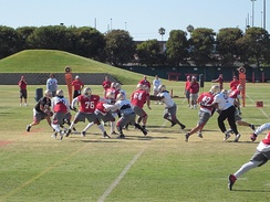 The San Francisco 49ers conducting training camp at the team's headquarters and practice facility in Santa Clara, California in August 2010