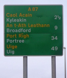 Primary route sign outside Kyle of Lochalsh