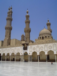 Al-Azhar Mosque; Fatimid courtyard and Mamluk minarets.