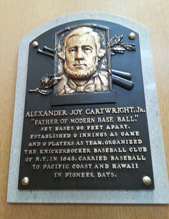 Cartwright's plaque at the National Baseball Hall of Fame and Museum