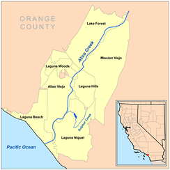 Map of Aliso Creek watershed showing named cities