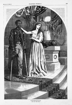 """And Not This Man?"", Harper's Weekly, August 5, 1865. Thomas Nast drew this cartoon; in 1865 he, like many Northerners, remembered blacks' military service and favored granting them voting rights"