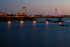 View of the Guadiana, Puente Real bridge and the Caja Badajoz building