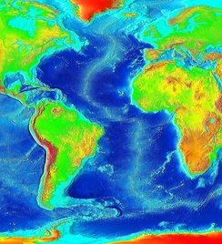 False color map of ocean depth in the Atlantic basin