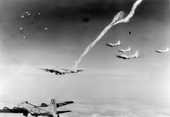 B-17s of the 410th Bomb Squadron on a mission over occupied Europe
