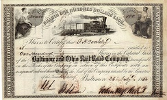 Share of the Baltimore and Ohio Rail-Road Company, issued 26. July 1856; signed by Johns Hopkins as president pro. tem.