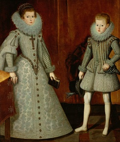 Philip pictured with his older sister, Anne in 1612 by Bartolomé González y Serrano