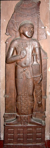 "Vedika pillar with ""Yavana"" Greek warrior. Bharhut, Madhya Pradesh, Shunga Period, c. 100-80 BC. Reddish brown sandstone.[26] Indian Museum, Calcutta."